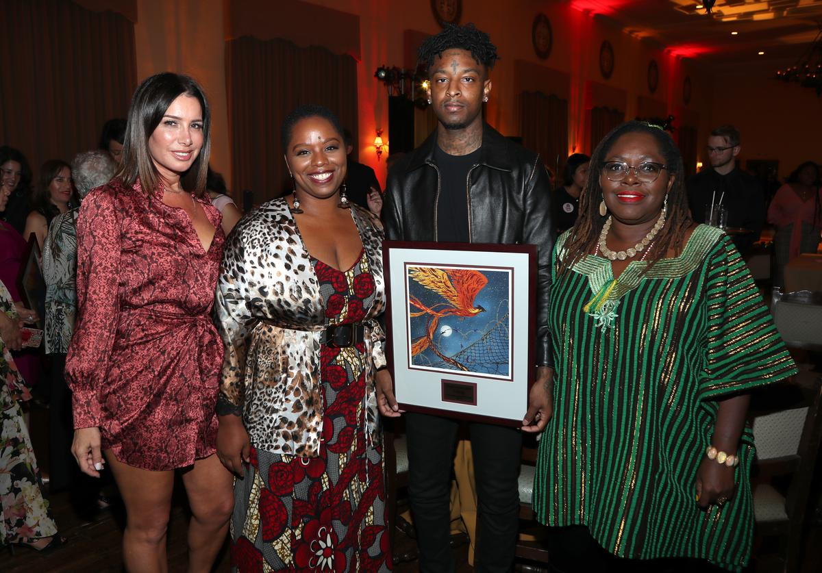 Tammy Brook, Founder FYI Brand Group, Patrisse Cullors, Founder Black Lives Matter, 21 Savage and Nana Gyamfi attend the NILC Courageous Luminaires Awards Honoring 21 Savage on October 03, 2019 in Los Angeles, California.
