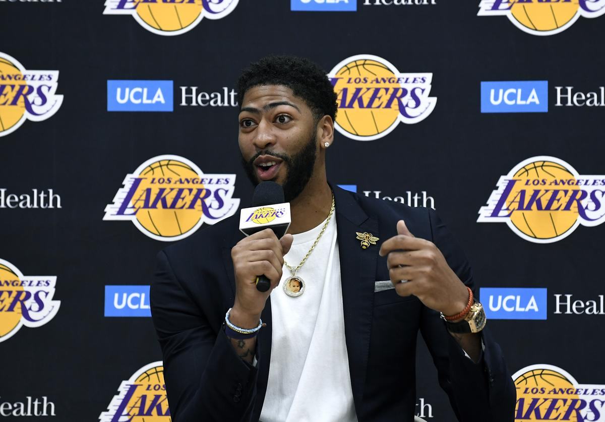 Anthony Davis speaks as he is introduced as the newest player of the Los Angeles Lakers during a press conference at UCLA Health Training Center on July 13, 2019 in El Segundo, California. NOTE TO USER: User expressly acknowledges and agrees that, by downloading and/or using this Photograph, user is consenting to the terms and conditions of the Getty Images License Agreement.