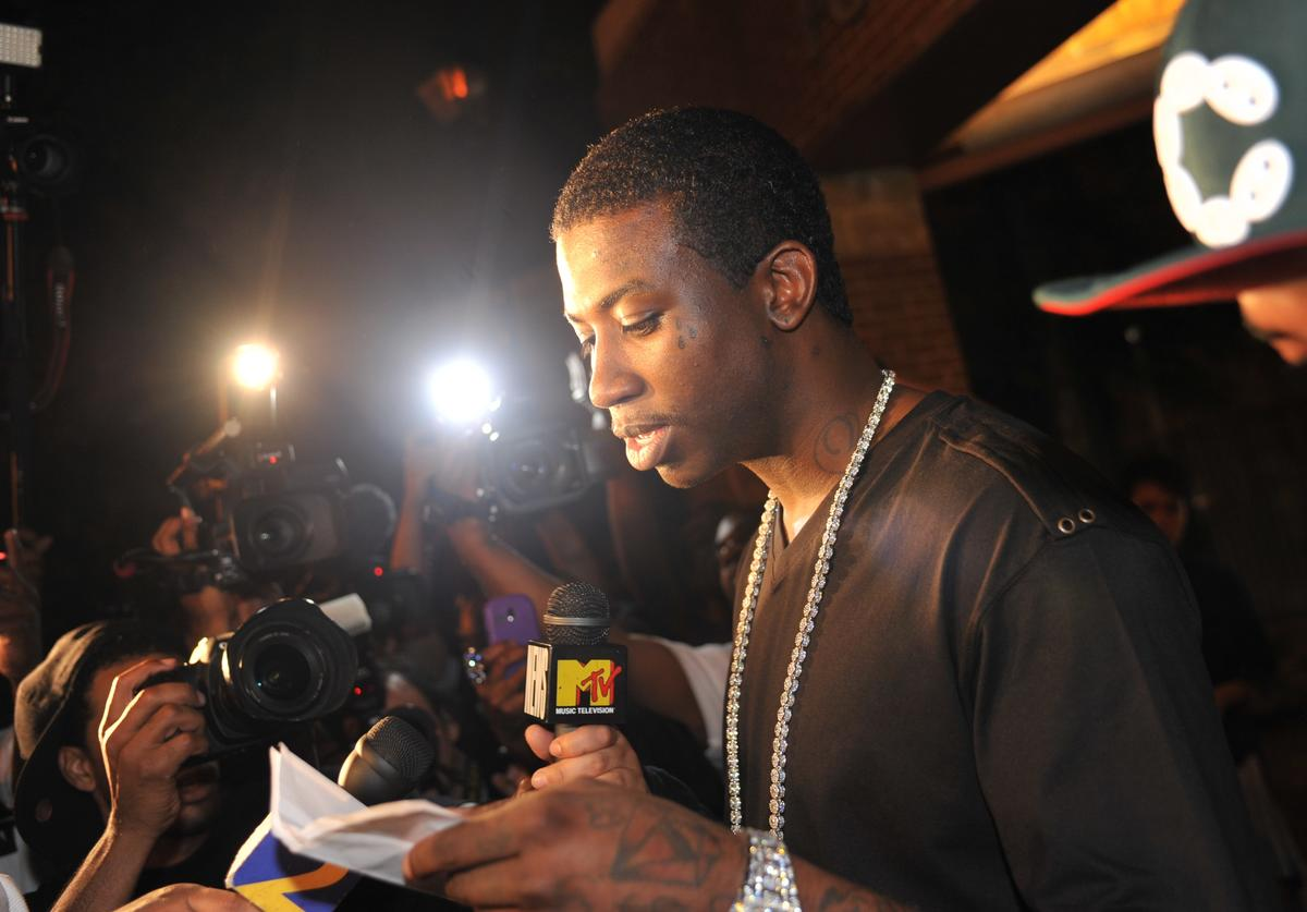 Gucci Mane holds a press conference to announce his plans for the future and address issues that arose while he was incarcerated on May 11, 2010 in Atlanta, Georgia