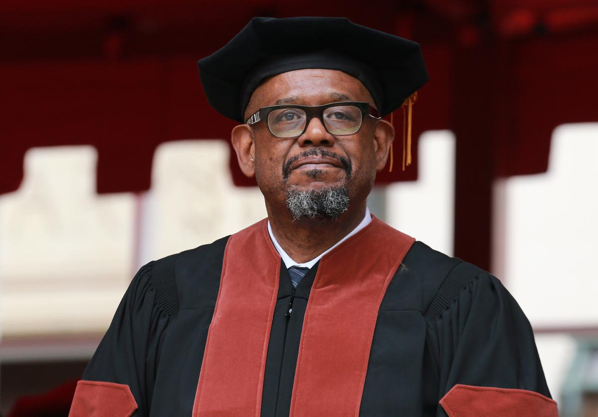 Forest Whitaker attends The University Of Southern California's Commencement Ceremony and receives his Doctorate Degree at Alumni Park at USC on May 11, 2018 in Los Angeles, California