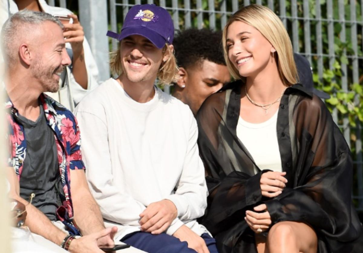 Justin Bieber and Hailey Baldwin attend the John Elliott front row during New York Fashion Week