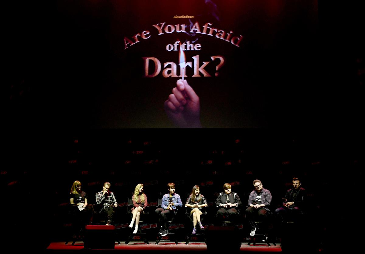 Rafael Casal, Lyliana Wray, Sam Ashe Arnold, Miya Cech, Jeremy Ray Taylor, BenDavid Grabinski, and Matt Kaplan speak onstage during Nickelodeon's Are You Afraid of the Dark? panel at New York Comic Con 2019 - Day 2 at Jacobs Javits Center on October 04, 2019 in New York City