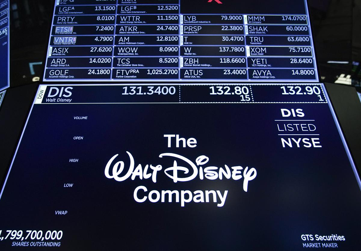 A logo for The Walt Disney Company is displayed on a trading post during the opening bell on the floor of the New York Stock Exchange (NYSE), May 14, 2019 in New York City.