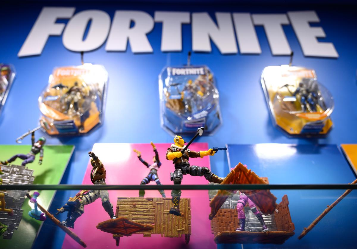 "A selection of ""Fortnite"" action figures are seen on a display at the annual ""Toy Fair"" at Olympia London on January 22, 2019 in London, England. The Toy Fair is the UK's largest dedicated game and hobby event and aims to showcase the most anticipated products for the year ahead."