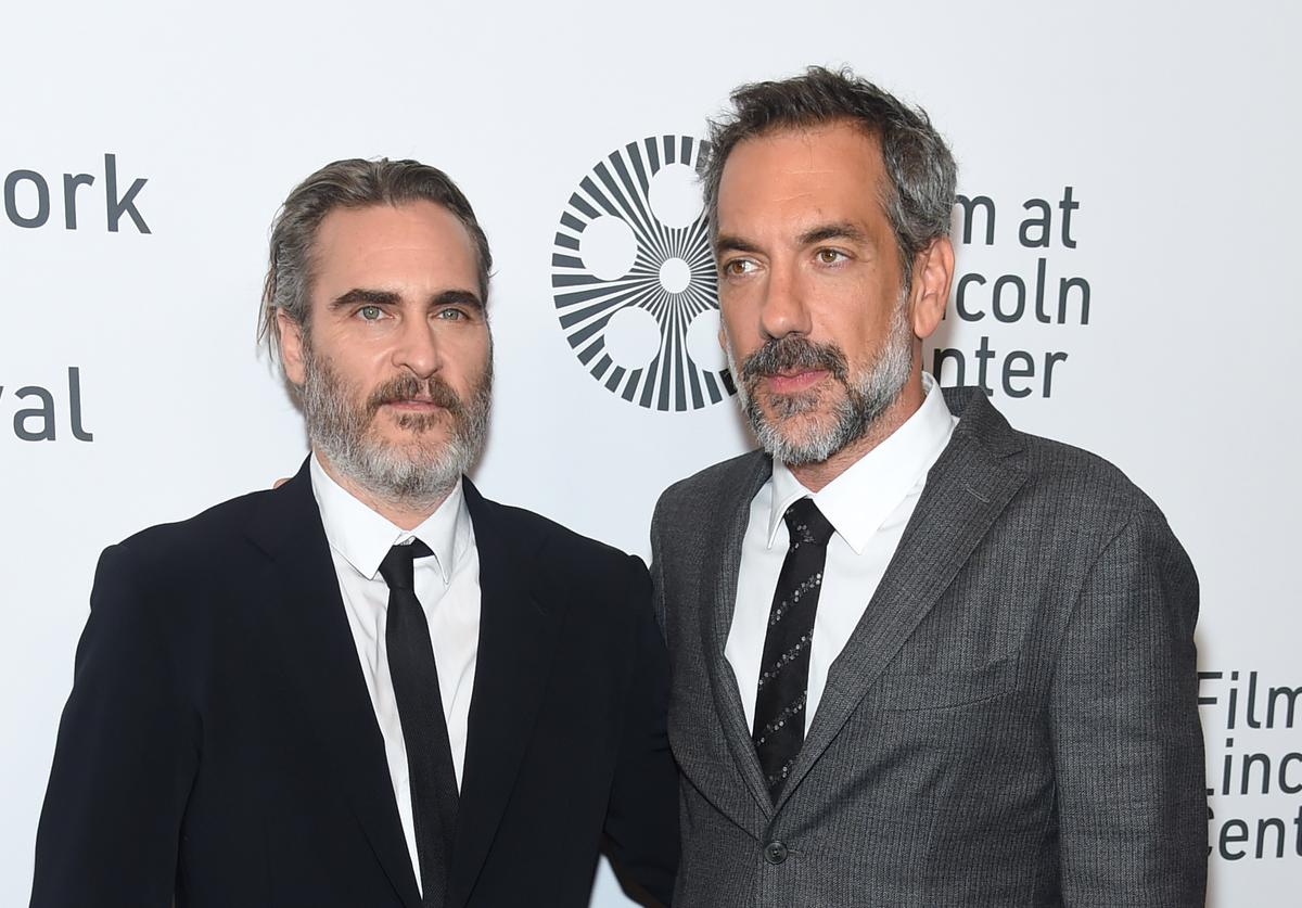 """Joaquin Phoenix and Todd Phillips attend the 57th New York Film Festival """"Joker"""" Arrivals at Alice Tully Hall, Lincoln Center on October 02, 2019 in New York City."""