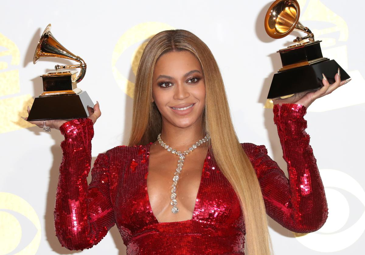 Beyonce, winner of Best Urban Contemporary Album for 'Lemonade' and Best Music Video for 'Formation,' poses in the press room during The 59th GRAMMY Awards at STAPLES Center on February 12, 2017 in Los Angeles, California