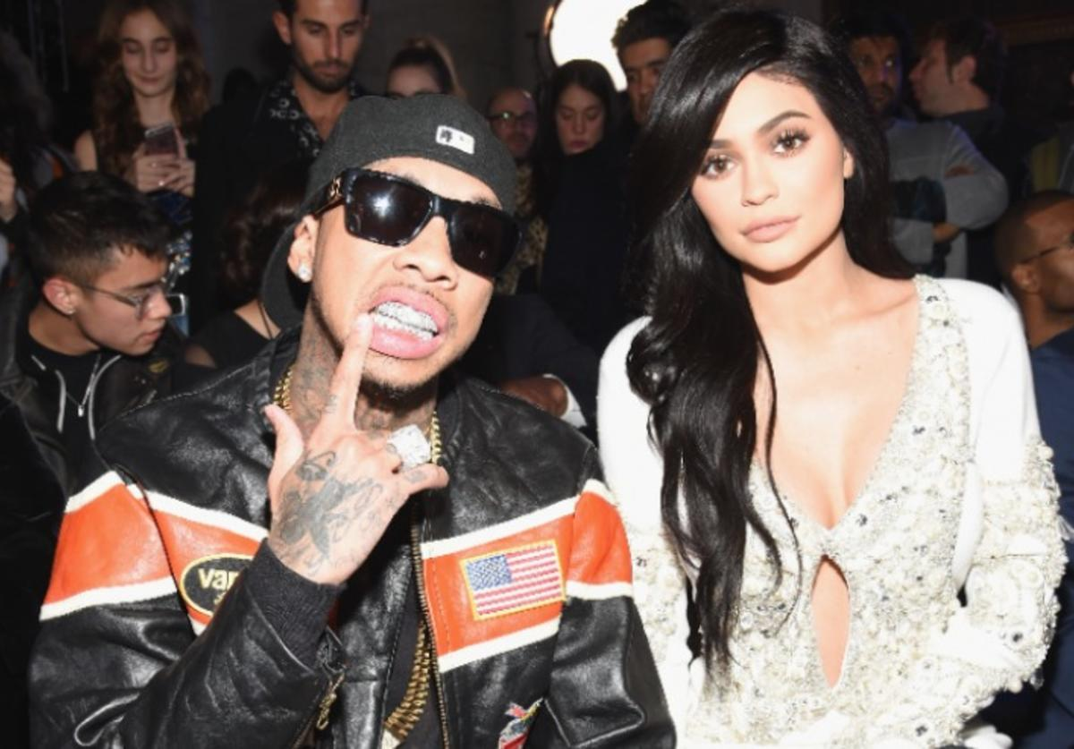 Tyga and Kylie Jenner attend the Front Row for the Philipp Plein Fall/Winter 2017/2018 Women's And Men's Fashion Show at The New York Public Library