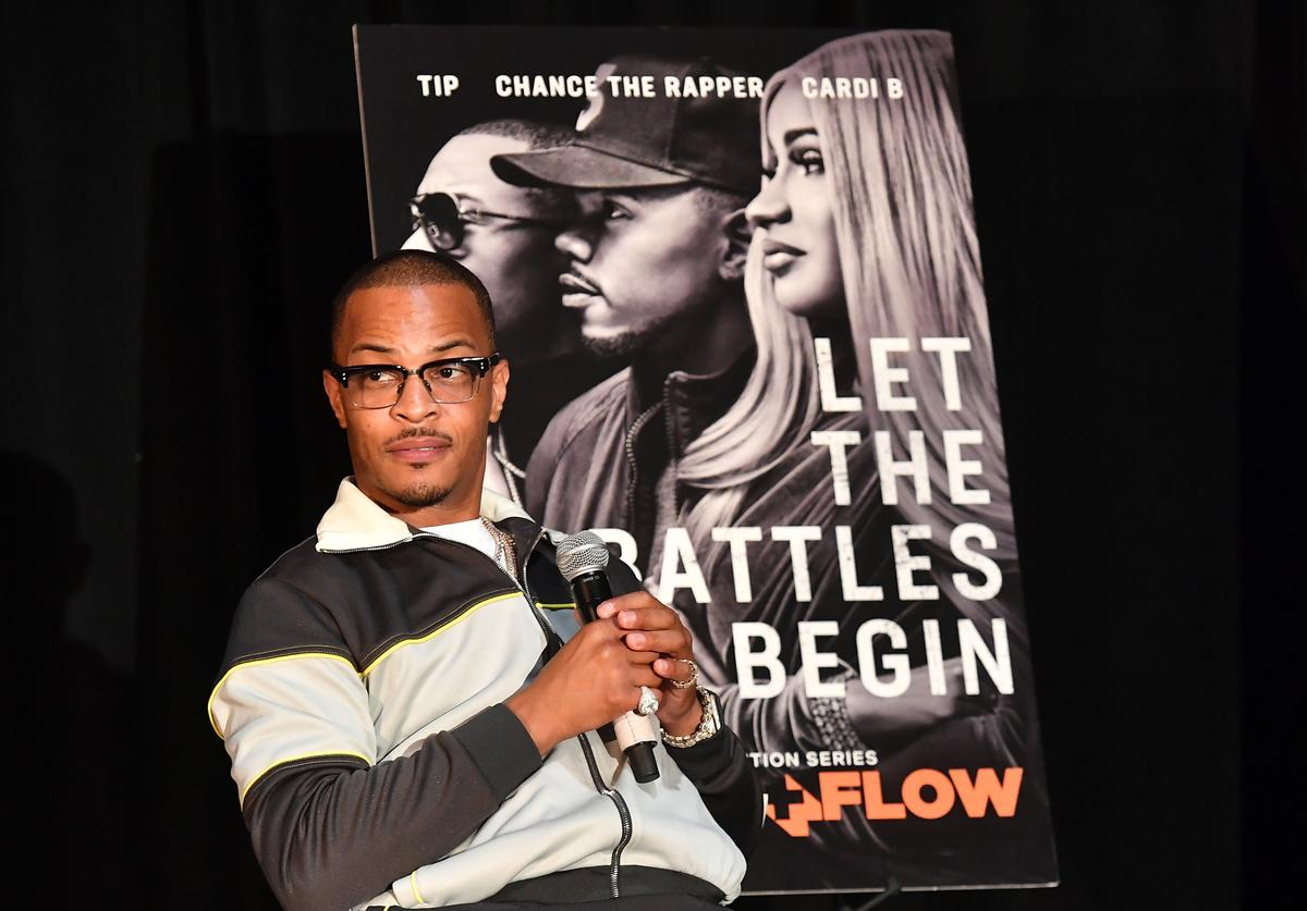 T.I. speaks onstage during Netflix Presents Rhythm+Flow Atlanta screening at Clark Atlanta