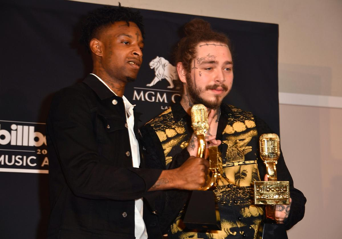 21 Savage and Post Malone poses in the press room during the 2018 Billboard Music Awards at MGM Grand Garden Arena on May 20, 2018 in Las Vegas, Nevada.