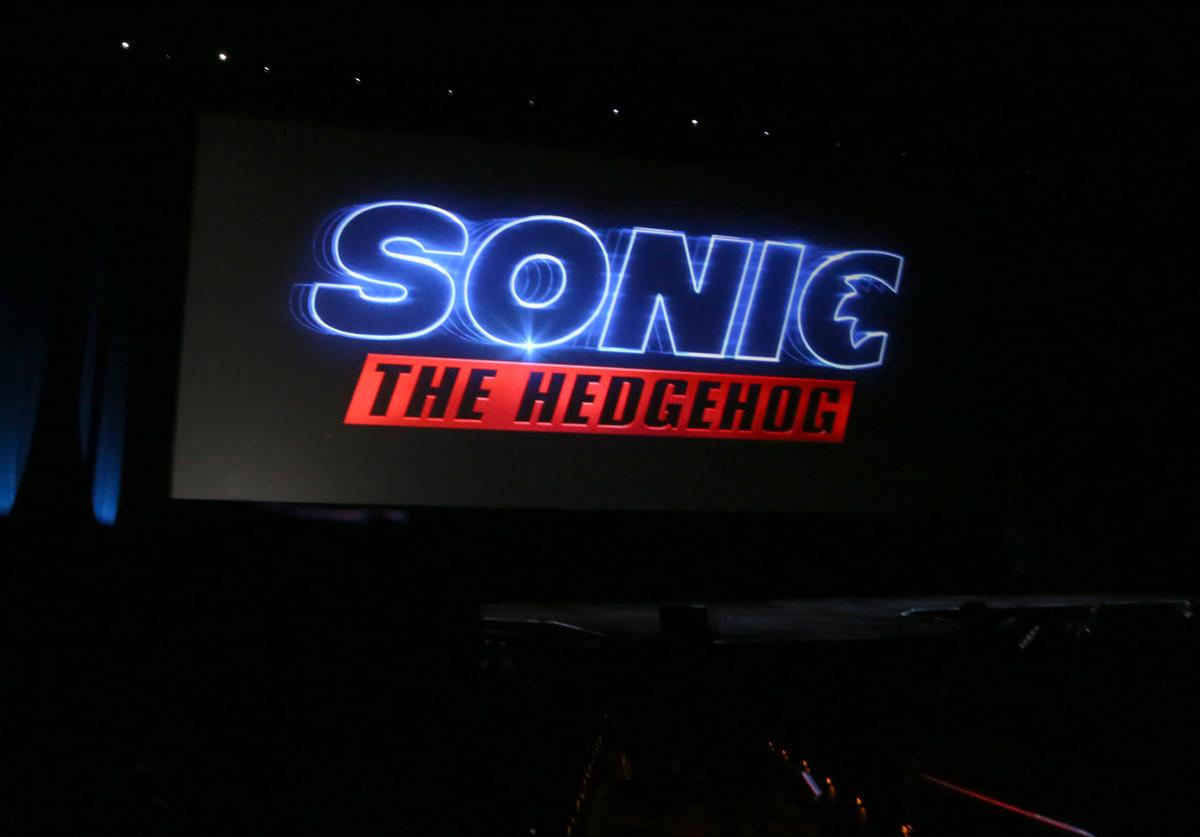 "A logo for the movie ""Sonic the Hedgehog"" is displayed during Paramount Pictures exclusive presentation during CinemaCon at The Colosseum at Caesars Palace on April 04, 2019"