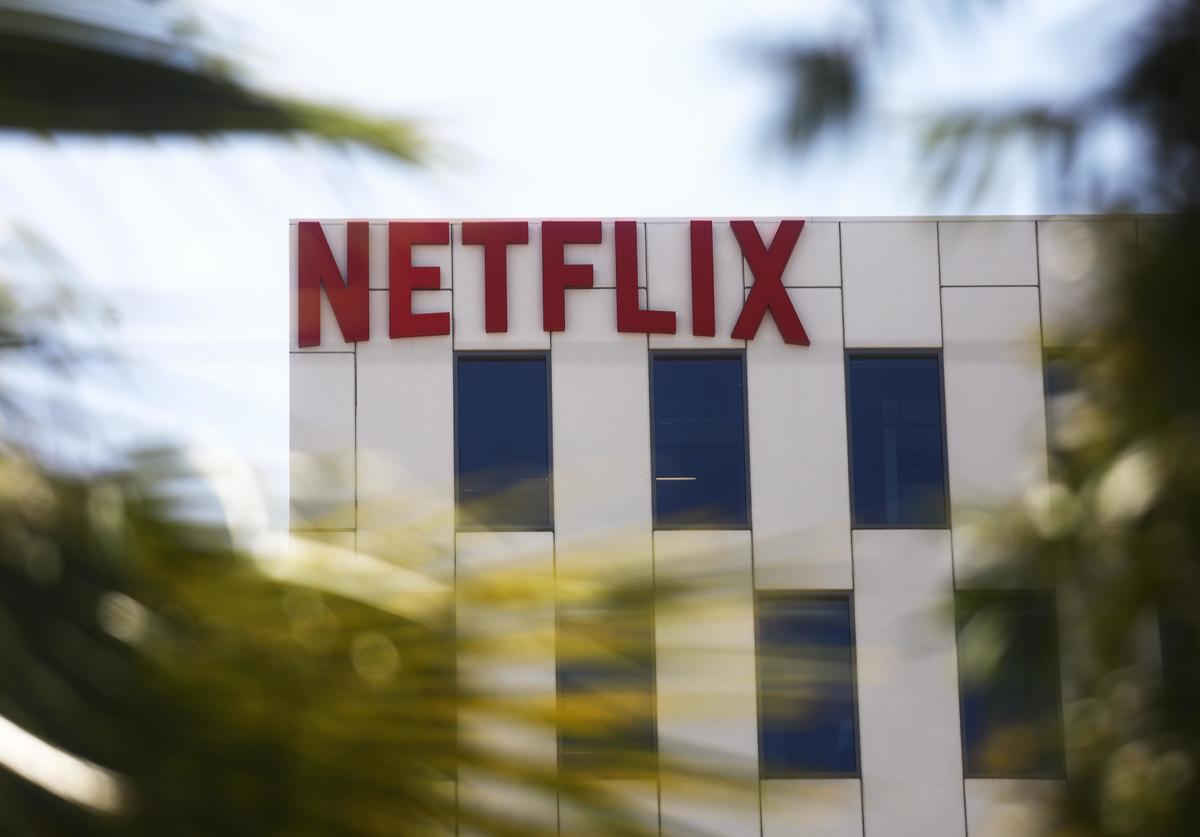 The Netflix logo is displayed at Netflix offices on Sunset Boulevard on May 29, 2019 in Los Angeles, California. Netflix chief content officer Ted Sarandos said the company will reconsider their 'entire investment' in Georgia if a strict new abortion law is not overturned in the state.