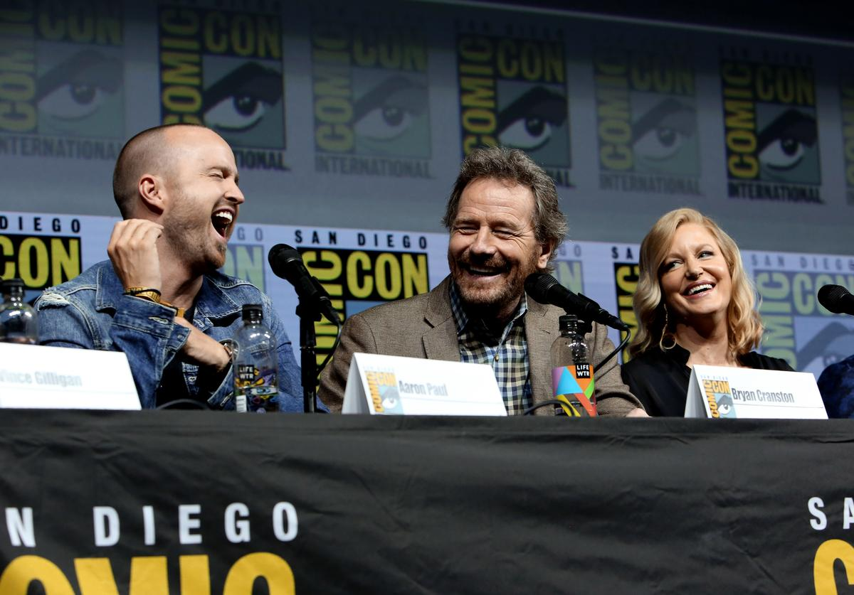 "Aaron Paul, Bryan Cranston and Anna Gunn speak onstage during the ""Breaking Bad"" 10th Anniversary Celebration during Comic-Con International 2018 at San Diego Convention Center on July 19, 2018 in San Diego, California."
