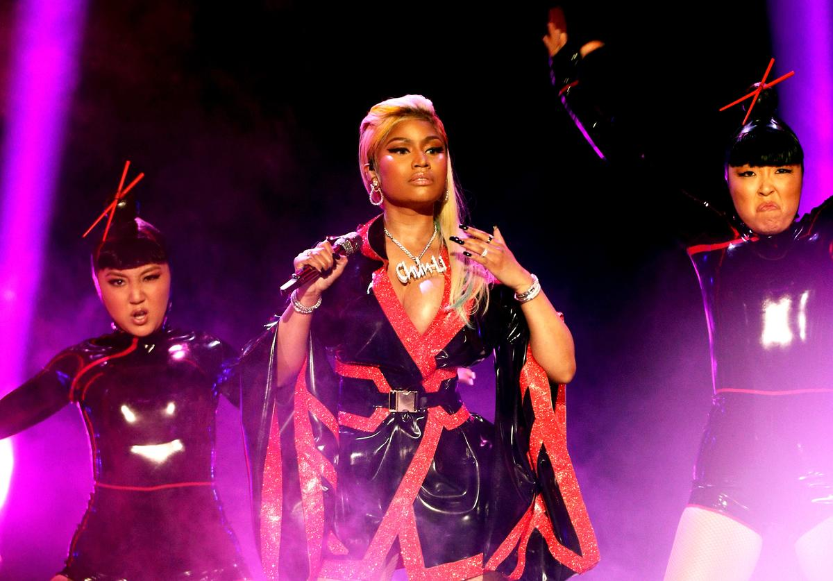 Nicki Minaj performs onstage at the 2018 BET Awards at Microsoft Theater on June 24, 2018 in Los Angeles, California