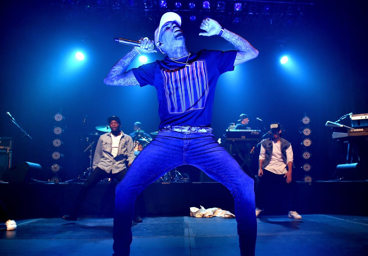 Chris Brown performs at the Hollywood Palladium on December 18, 2015 in Los Angeles, California