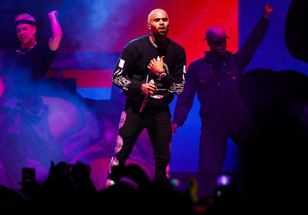 Chris Brown performs at Staples Center on October 11, 2019 in Los Angeles, California