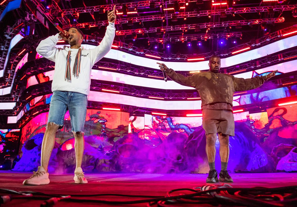 Kid Cudi and Kanye West perform during 2019 Coachella Valley Music And Arts Festival on April 20, 2019 in Indio, California