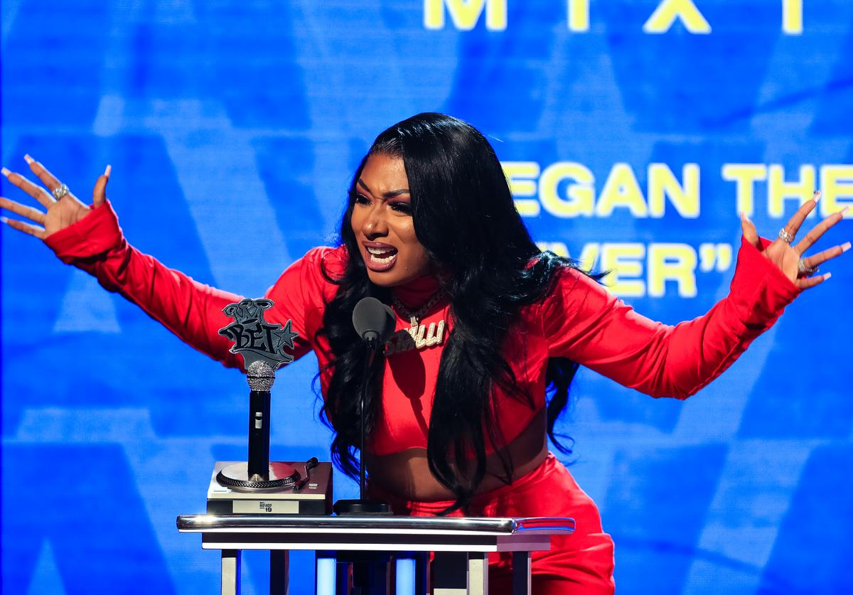Megan Thee Stallion speaks onstage at the BET Hip Hop Awards 2019 at Cobb Energy Center on October 5, 2019 in Atlanta, Georgia