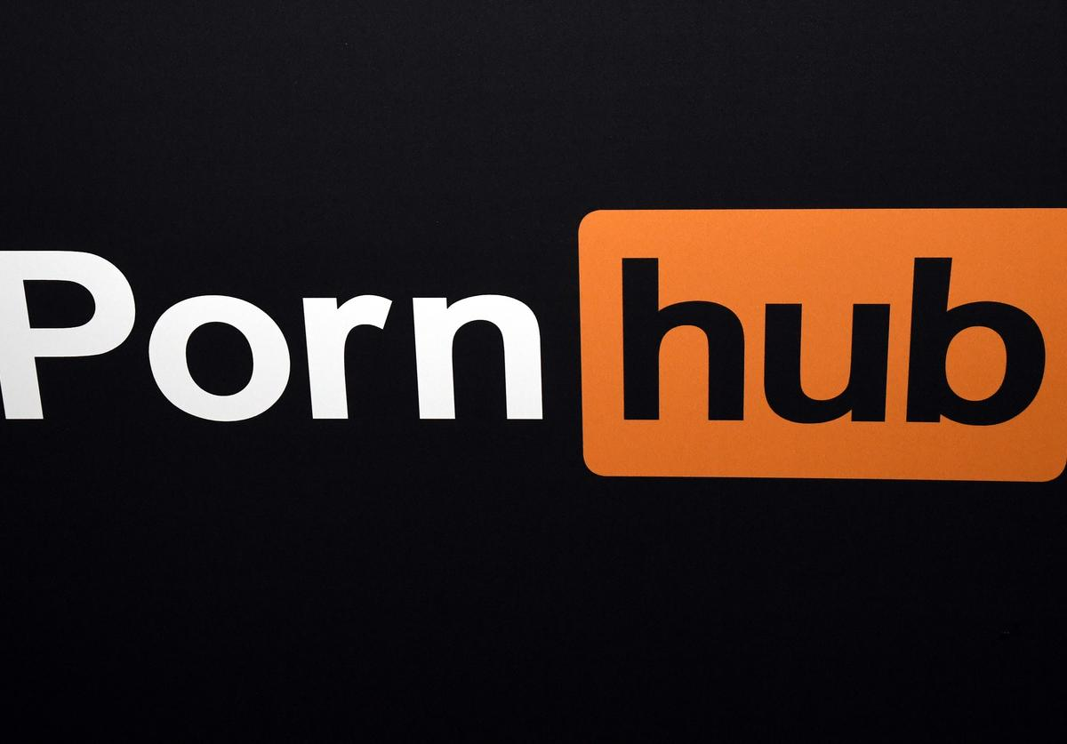 A Pornhub logo is displayed at the company's booth at the 2018 AVN Adult Entertainment Expo at the Hard Rock Hotel & Casino on January 24, 2018 in Las Vegas, Nevada.