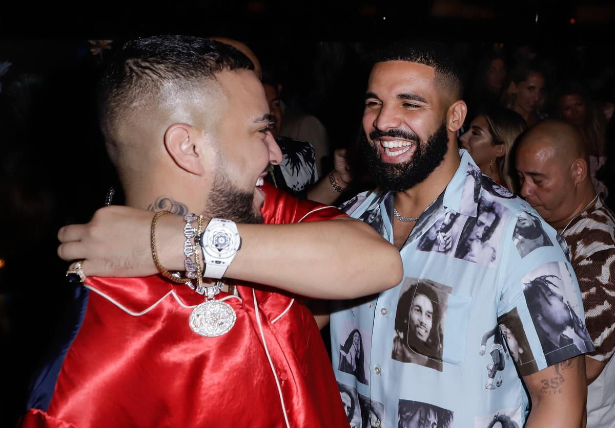 Drake (R) and French Montana during the Hublot Collectors Dinner to celecrate French Montana Haute Living Cover on August 18, 2019 in Miami, Florida