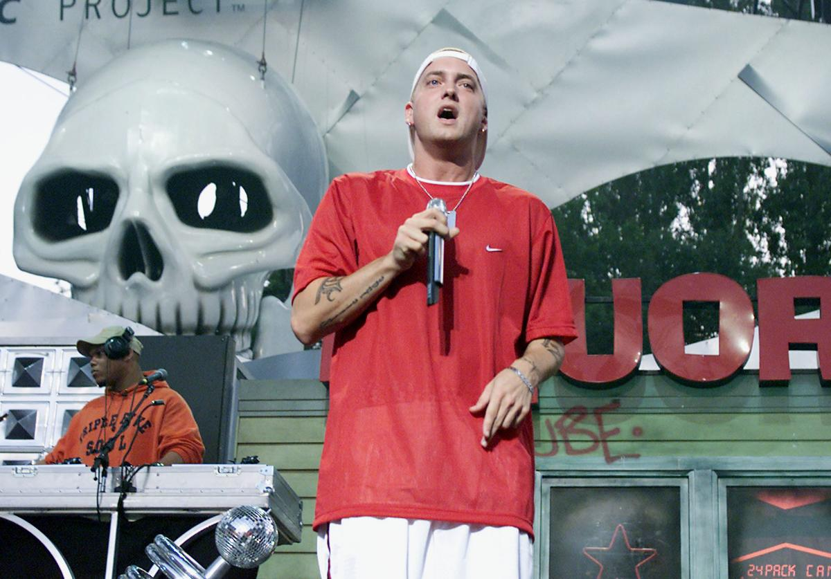 Eminem performs live at Memorial Stadium to celebrate the opening of the Experience Music Project, an interactive music museum opening in Seattle, Washington, June 23, 2000.