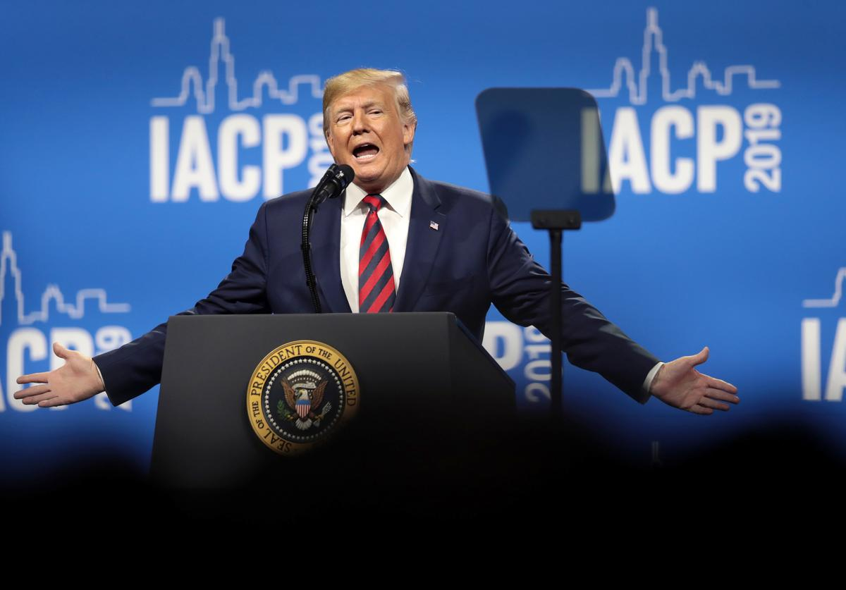 U.S. President Donald Trump addresses the International Association of Chiefs of Police (IACP) convention on October 28, 2019 in Chicago, Illinois. Trump is expected to attend a fundraiser hosted by Chicago Cubs co-owner and Trump Victory Committee Finance Chairman Todd Ricketts at Trump tower following the address. The visit is Trump's first official visit to the city since protesters forced him to cancel a 2016 campaign rally in the city.