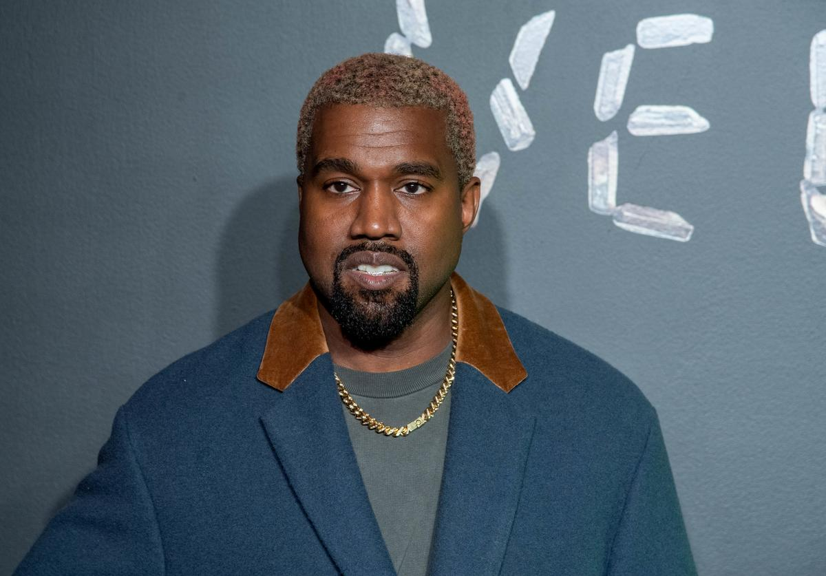 Kanye West attends the the Versace fall 2019 fashion show at the American Stock Exchange Building in lower Manhattan on December 02, 2018 in New York Cit