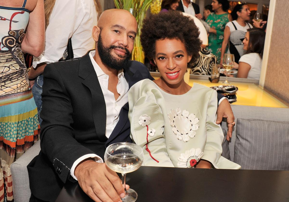 """Music video director Alan Ferguson and singer Solange Knowles attend the after party for the New York Premiere of """"Blue Jasmine"""" at Harlow on July 22, 2013 in New York City."""