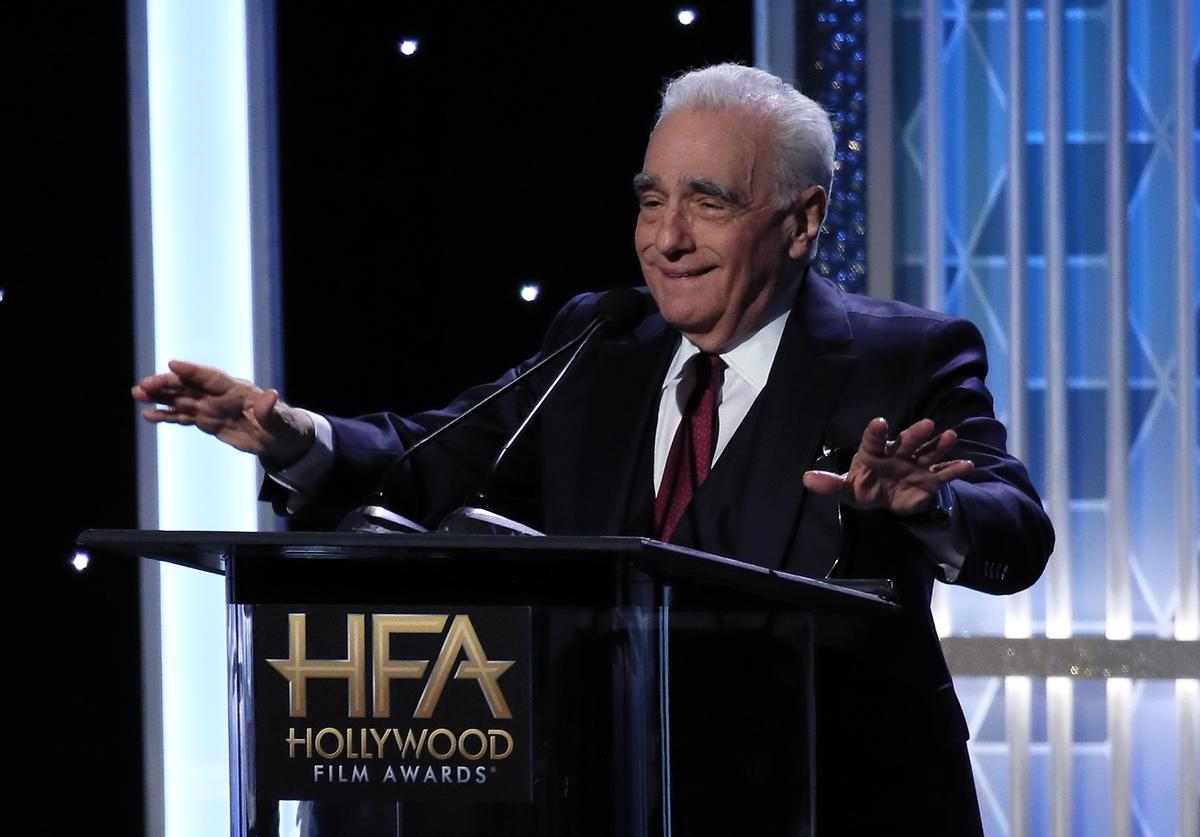 Martin Scorsese appears on stage at the 23rd Annual Hollywood Film Awards show at The Beverly Hilton Hotel on November 03, 2019 in Beverly Hills, California.