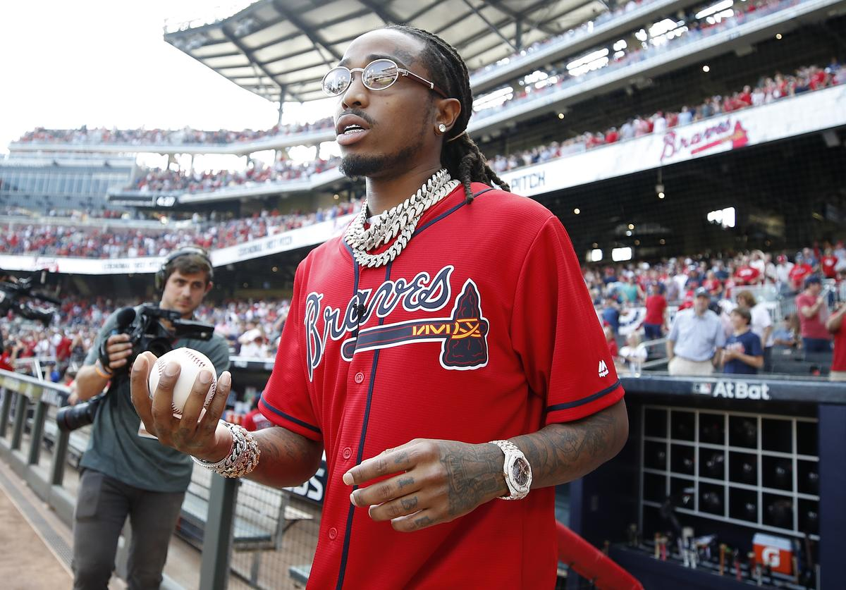 "Quavious ""Quavo"" Marshall prepares to throw out the first pitch in game two of the National League Division Series between the Atlanta Braves and the St. Louis Cardinals at SunTrust Park on October 04, 2019 in Atlanta, Georgia."