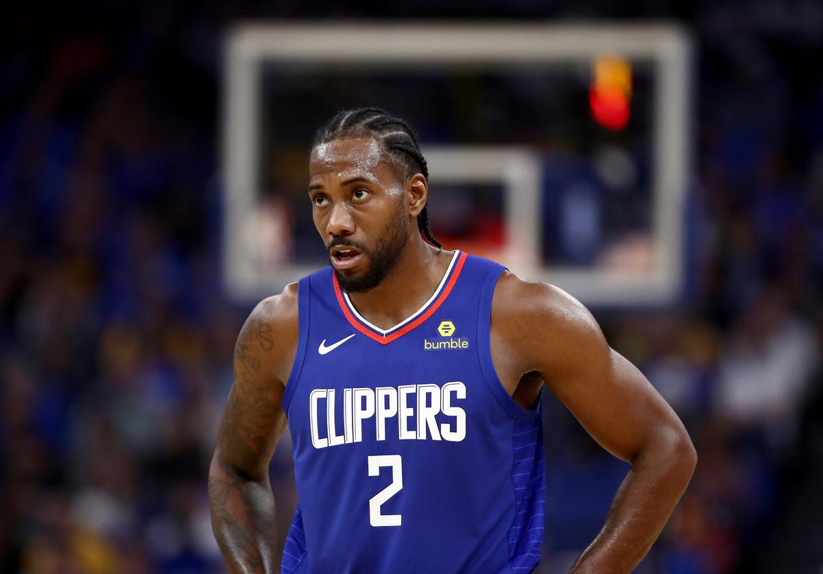 Kawhi Leonard #2 of the LA Clippers stands on the court during their game against the Golden State Warriors at Chase Center on October 24, 2019 in San Francisco, California.