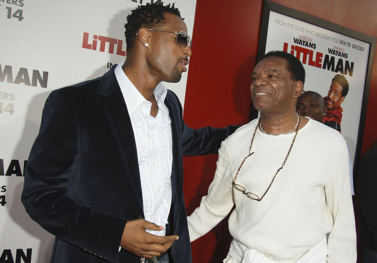 "Actors Shawn Wayans and John Witherspoon attend Sony Pictures premiere of ""Little Man"" at the Mann National Theater on July 6, 2006 in Westwood, California."