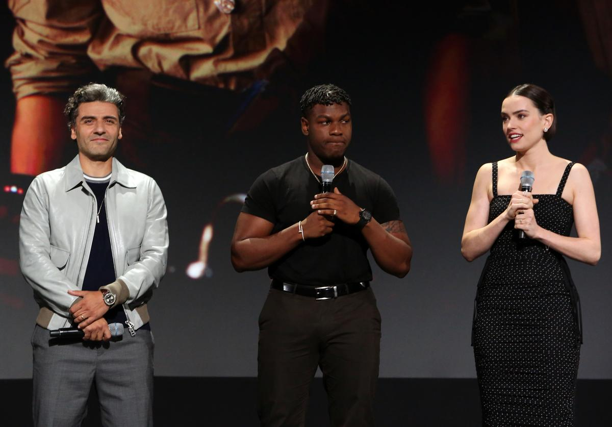 Oscar Isaac, John Boyega, and Daisy Ridley of 'Star Wars: The Rise of Skywalker' took part today in the Walt Disney Studios presentation at Disney's D23 EXPO 2019 in Anaheim, Calif. 'Star Wars: The Rise of Skywalker' will be released in U.S. theaters on December 20, 2019.