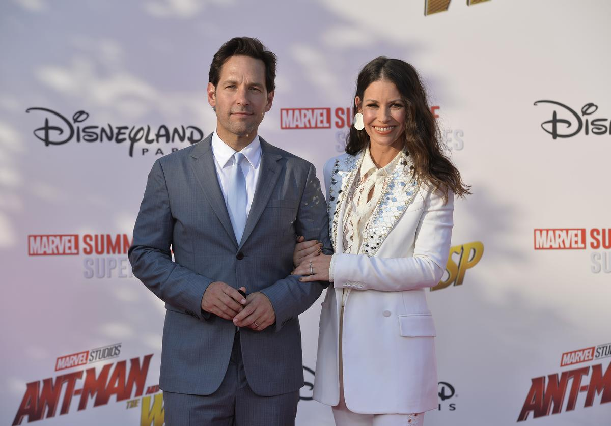 """Actors Paul Rudd and Evangeline Lilly attend the European Premiere of Marvel Studios """"Ant-Man And The Wasp"""" at Disneyland Paris on July 14, 2018 in Paris, France."""