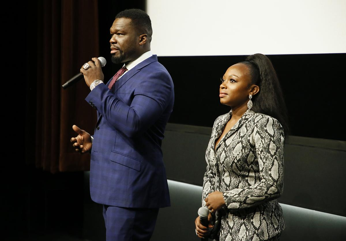 "Curtis ""50 Cent"" Jackson and Actress Naturi Naughton speak at STARZ ""Power"" season 6 Mid-Season Finale advanced screening and reception at MPA Theater on October 30, 2019 in Washington, DC"