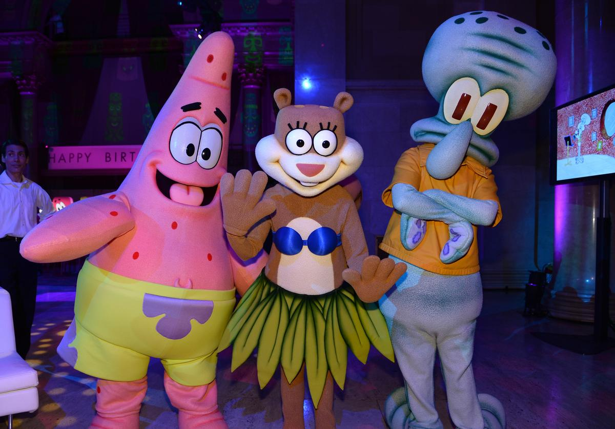 Patrick Star, Sandy Cheeks and Squidward Tentacles attend the SpongeBob SquarePants themed, 41st birthday party for Pharrell Williams at Bikini Bottom at Cipriani Wall Street on April 4, 2014 in New York City
