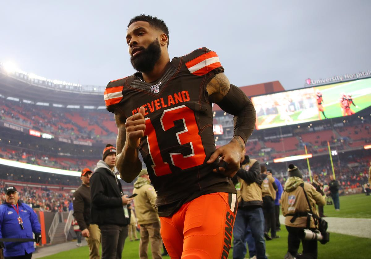 Odell Beckham #13 of the Cleveland Browns leaves the field after a 19-16 win over the Buffalo Bills at FirstEnergy Stadium on November 10, 2019 in Cleveland, Ohio.
