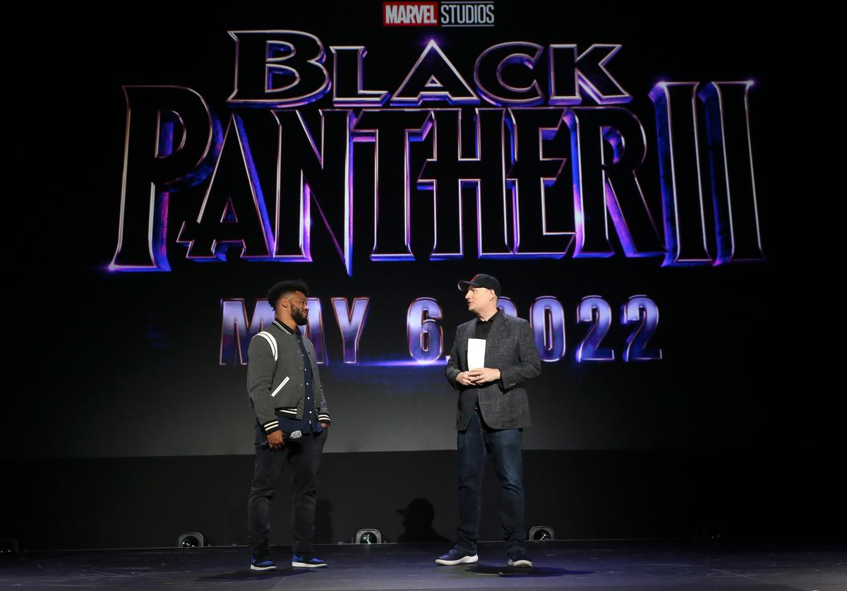 AUGUST 24: (L-R) Ryan Coogler of 'Black Panther 2' and President of Marvel Studios Kevin Feige took part today in the Walt Disney Studios presentation at Disney's D23 EXPO 2019 in Anaheim, Calif. 'Black Panther 2' will be released in U.S. theaters on May 6, 2020.