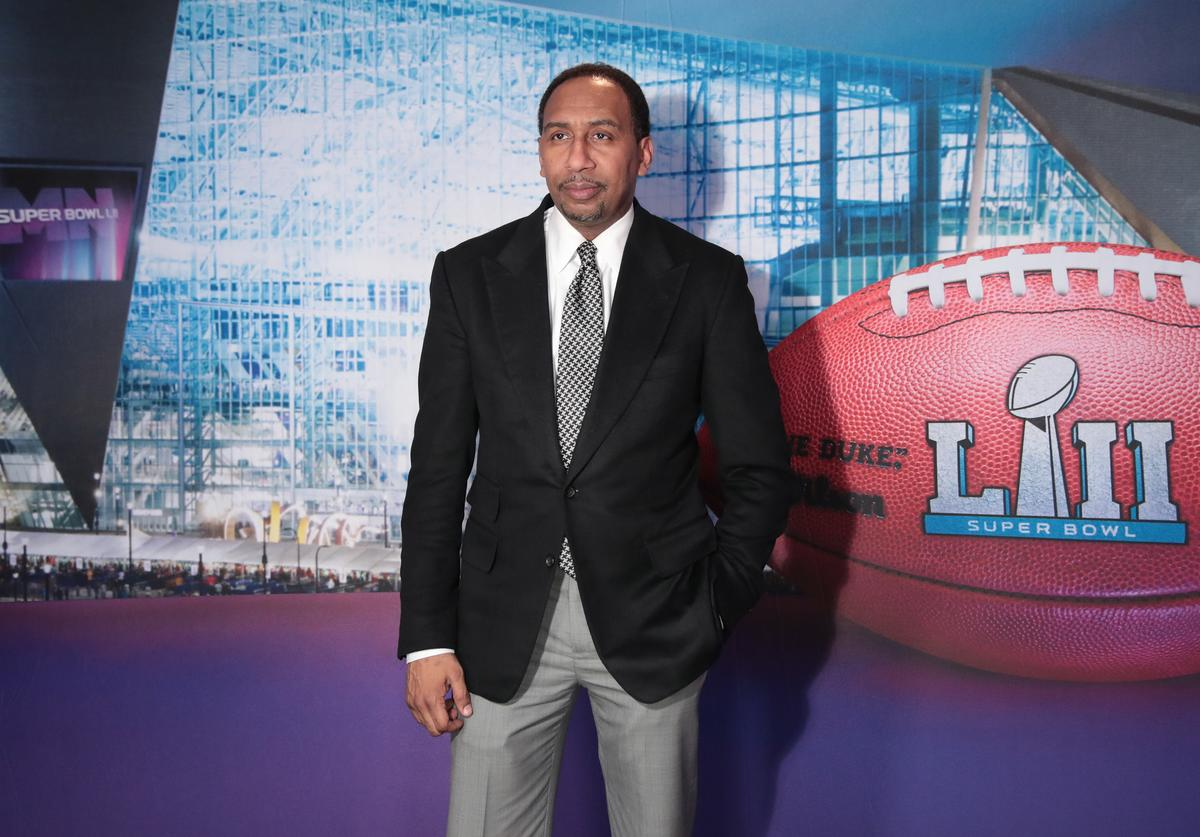 TV personality Stephen A. Smith attends SiriusXM at Super Bowl LII Radio Row at the Mall of America on February 1, 2018 in Bloomington, Minnesota.