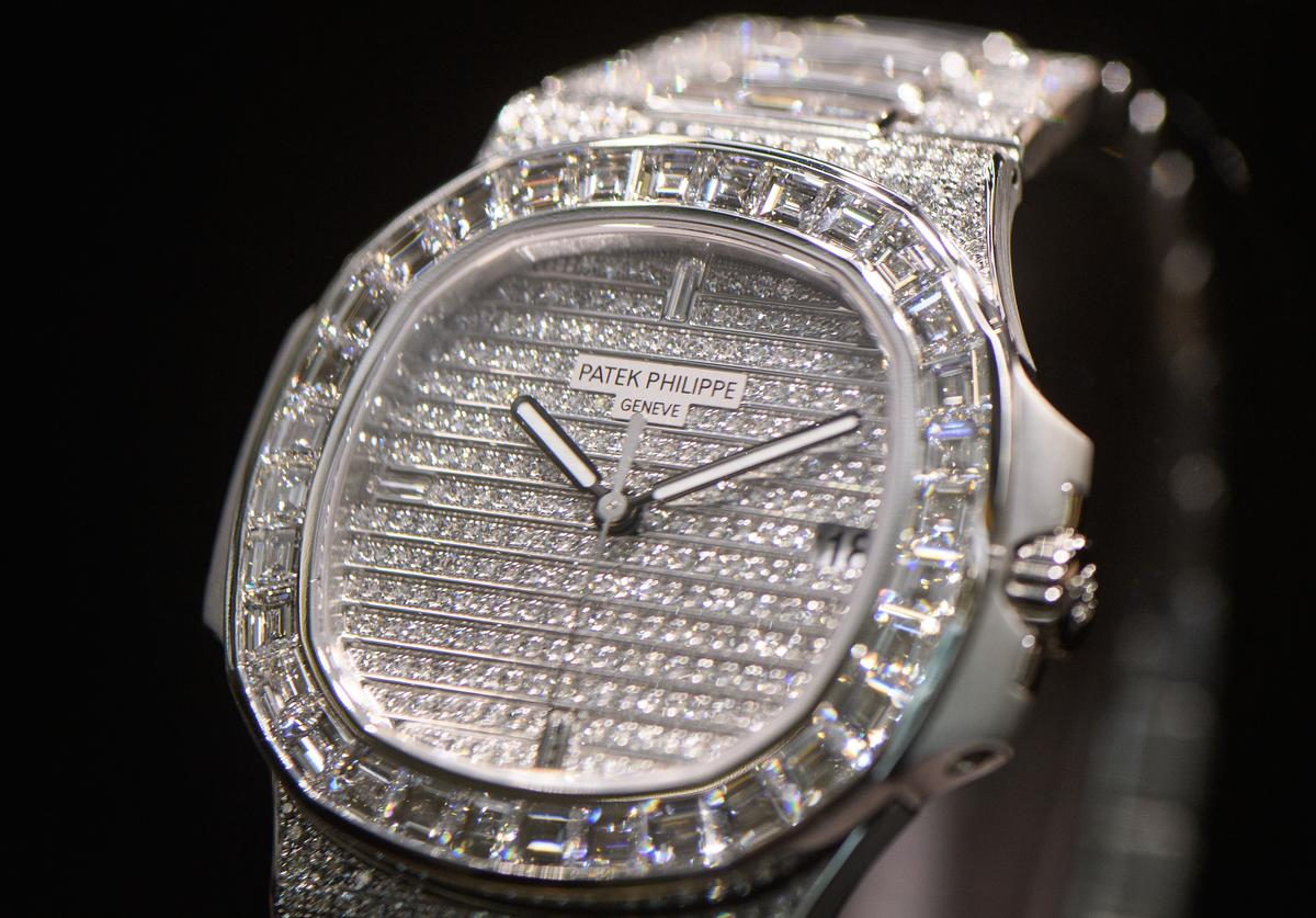 A Patek Philippe 5719/1, featuring 1,343 diamonds, (around $259,000) is displayed at the Baselworld watch fair on March 22, 2018 in Basel, Switzerland. The annual watch trade fair sees the very latest horological designs unveiled from companies from all over the world.