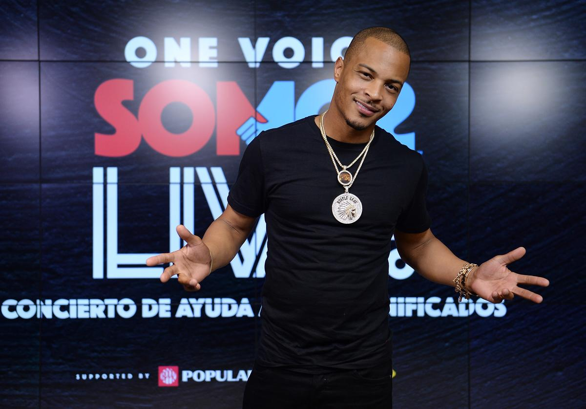 T.I. poses in the pressroom at One Voice: Somos Live! A Concert For Disaster Relief at Marlins Park on October 14, 2017 in Miami, Florida