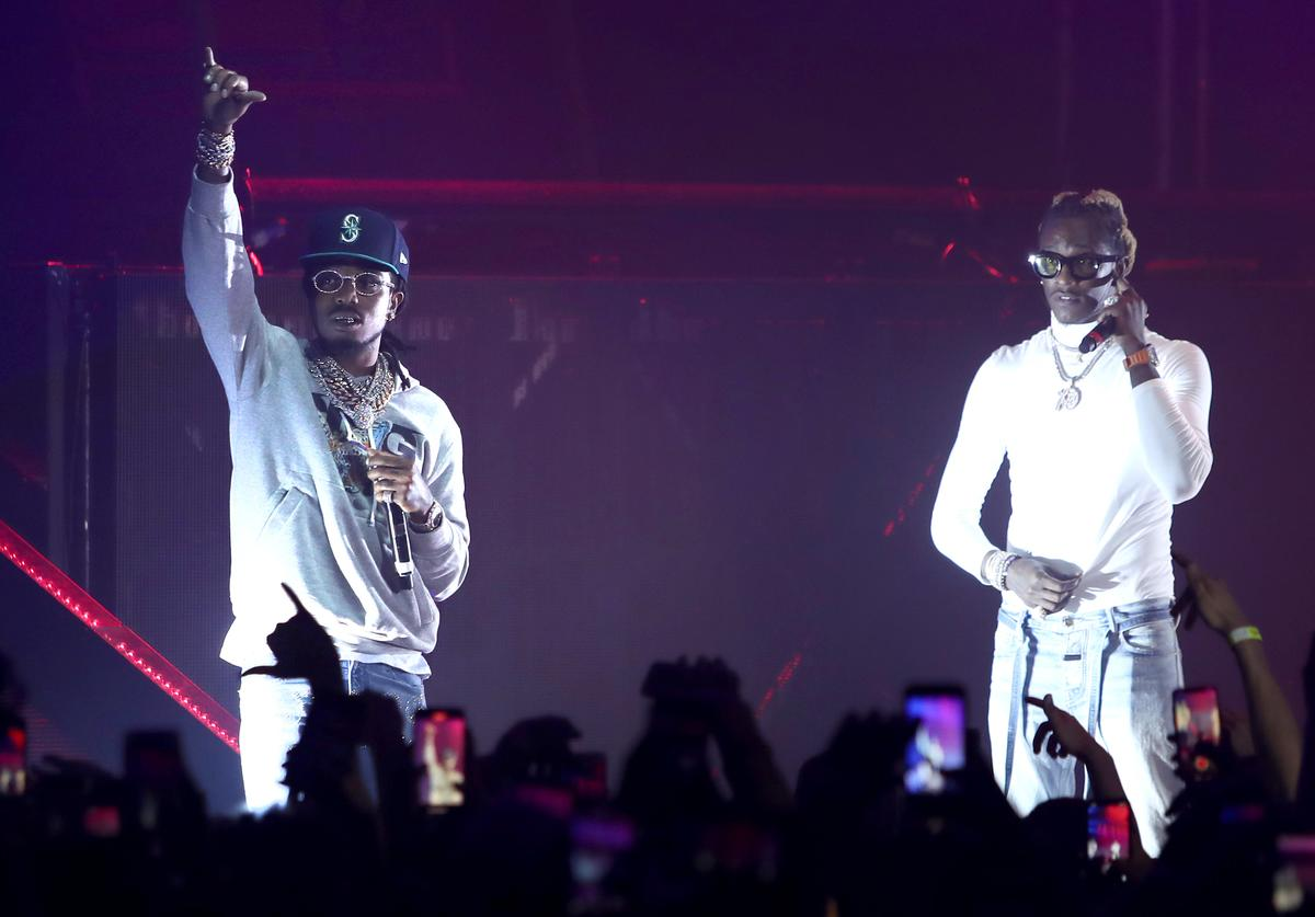Quavo of Migos and Young Thug perform at Hollywood Palladium on November 18, 2019 in Los Angeles, California.