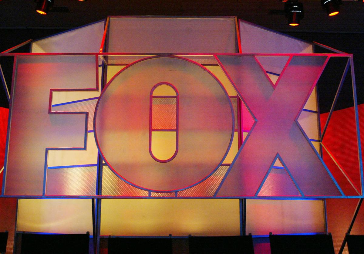The Fox Network logo is displayed during the 2005 Television Critics Winter Press Tour at the Hilton Universal Hotel on January 17, 2005 in Universal City, California.