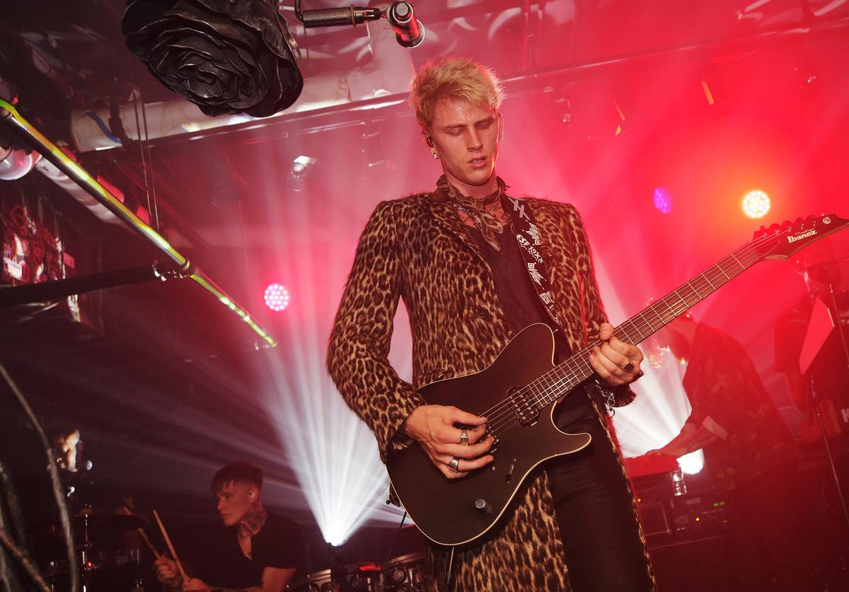 Machine Gun Kelly performs onstage at the John Varvatos x MGK Fashion Week Concert at John Varvatos 315 Bowery Boutique on September 7, 2017 in New York City