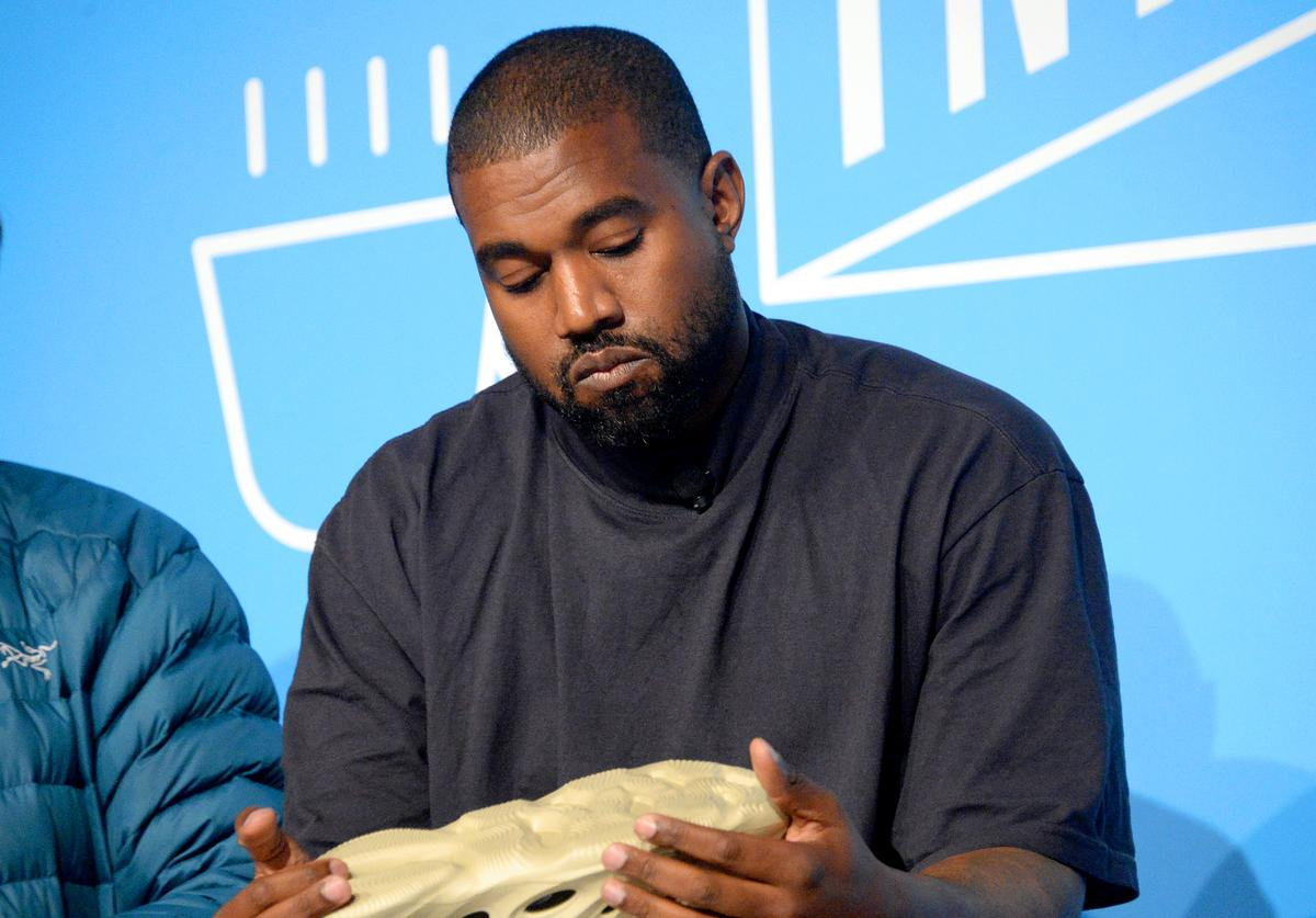 "Kanye West speaks on stage at the ""Kanye West and Steven Smith in Conversation with Mark Wilson"" at the on November 07, 2019 in New York City"