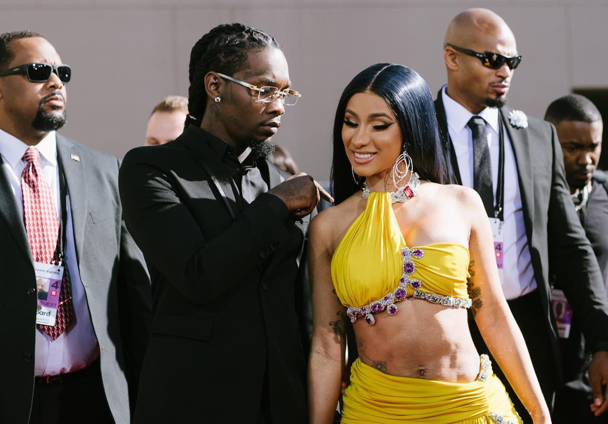 Offset and Cardi B arrive at the 2019 Billboard Music Awards at MGM Grand Garden Arena on May 01, 2019 in Las Vegas, Nevada.