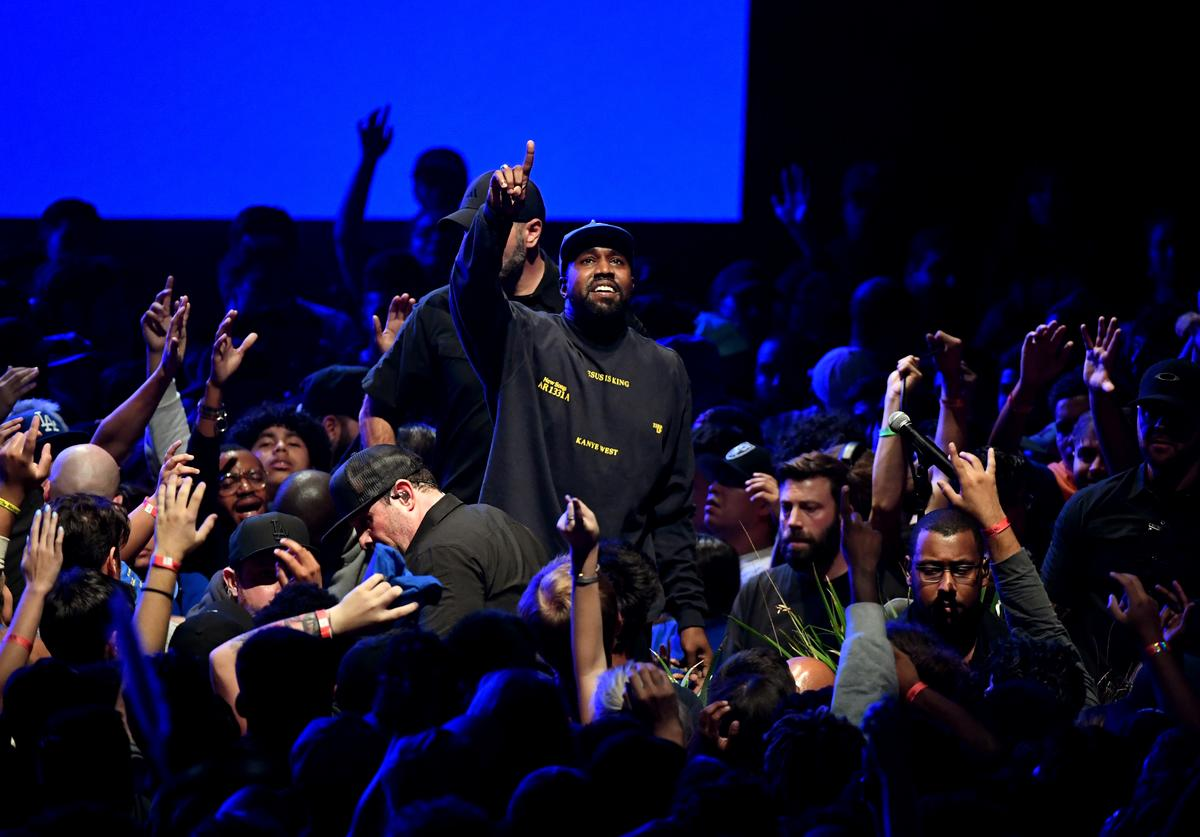 """Kanye West performs onstage during his """"Jesus Is King"""" album and film experience at The Forum on October 23, 2019 in Inglewood, California"""