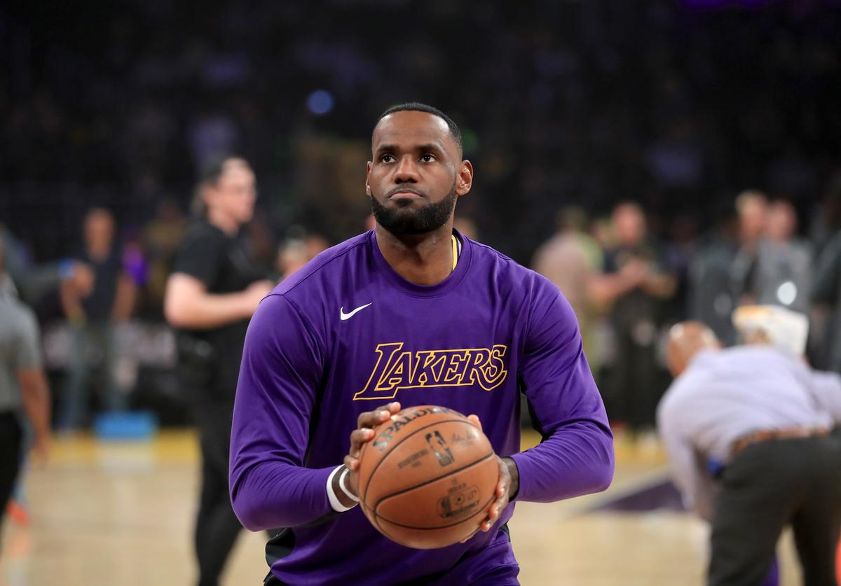 LeBron James #23 of the Los Angeles Lakers looks on prior to a game against the Oklahoma City Thunder at Staples Center on November 19, 2019 in Los Angeles, California
