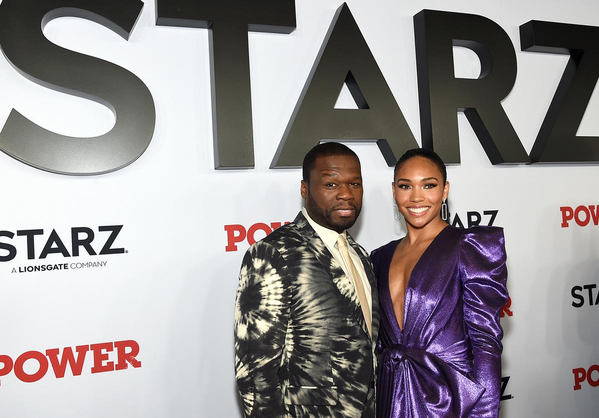 """50 Cent and Jamira at STARZ Madison Square Garden """"Power"""" Season 6 Red Carpet Premiere, Concert, and Party on August 20, 2019 in New York City"""