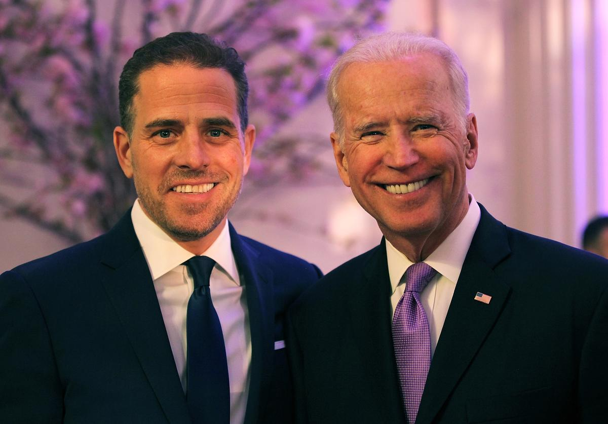 World Food Program USA Board Chairman Hunter Biden (L) and U.S. Vice President Joe Biden attend the World Food Program USA's Annual McGovern-Dole Leadership Award Ceremony at Organization of American States on April 12, 2016 in Washington, DC