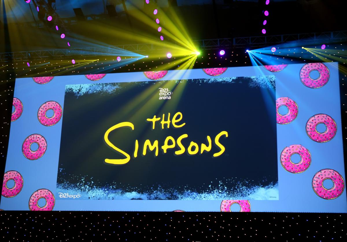 A view of the screen at The Simpsons! panel during the 2019 D23 Expo at Anaheim Convention Center on August 24, 2019 in Anaheim, California.